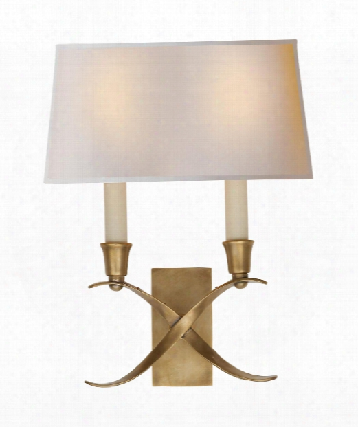 "Cross Bouillotte 10"" 2 Light Wall Sconce In Antique-burnished Brass"
