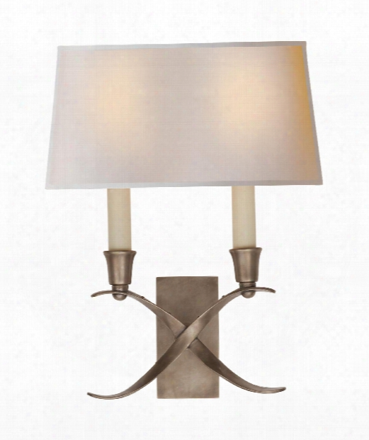 "Cross Bouillotte 10"" 2 Light Wall Sconce In Antique Nickel"