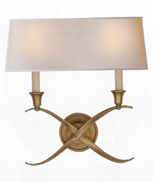 """Cross Bouillotte 15"""" 2 Light Wall Sconce In Antique-burnished Brass"""