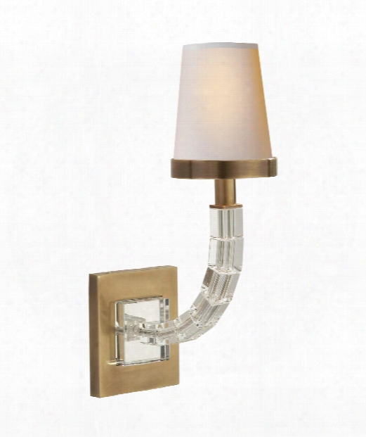 "Crystal Cube 4"" 1 Light Wall Sconce In Antique-burnished Brass"