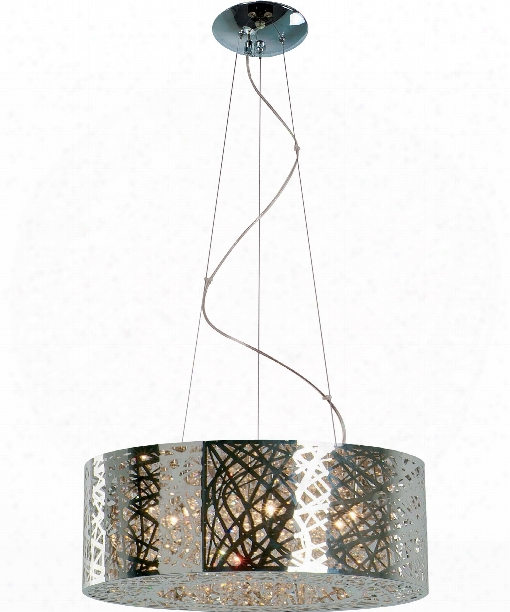 "Inca 24"" 9 Light Large Pendant In Polished Chrome"