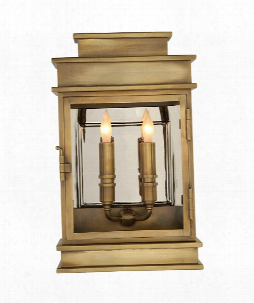 "Linear Lantern 9"" 2 Light Outdoor Outdoor Wall Light In Antique-burnished Brass"