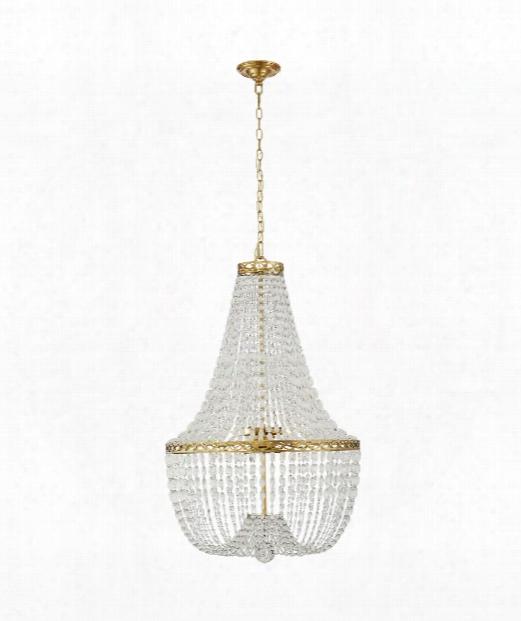 """Linfort 24"""" 8 Light Chandelier In Antique Burnished Brass"""