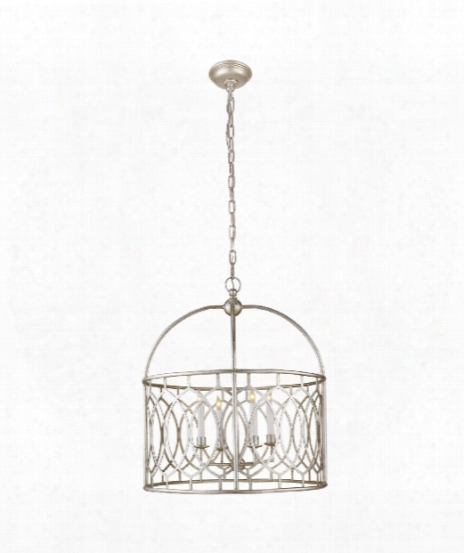 "Marquise 23"" 6 Light Foyer Pendant In Burnished Silver Leaf"