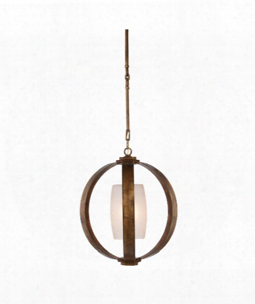 """Metal Banded 21"""" 1 Light Mini Pendant In Gilded Iron"""