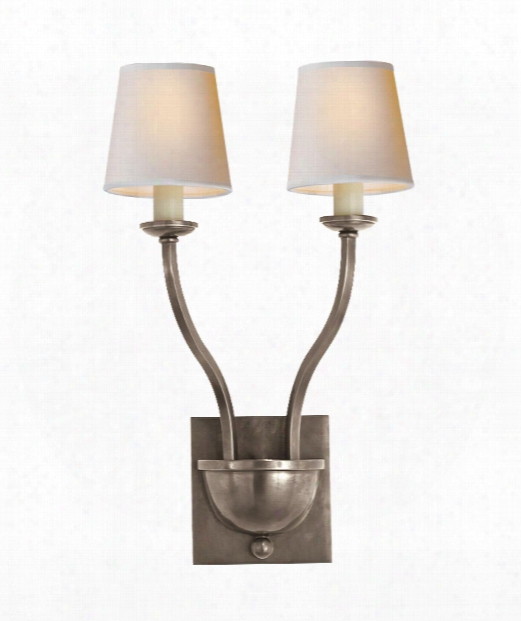 """Normandy 8"""" 2 Light Wall Sconce In Antique Nickel"""