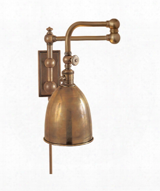 Pimlico 1 Light Wall Swing Lamp In Antique-burnished Brass