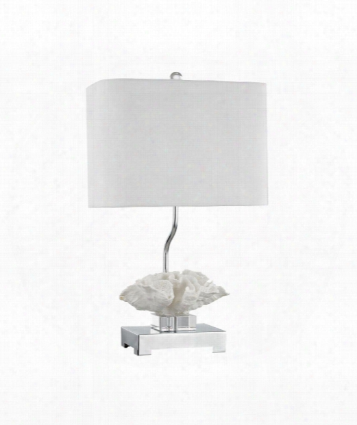 "Prince Edward Island 15"" 1 Light Table Lamp In White-polished Nickel"