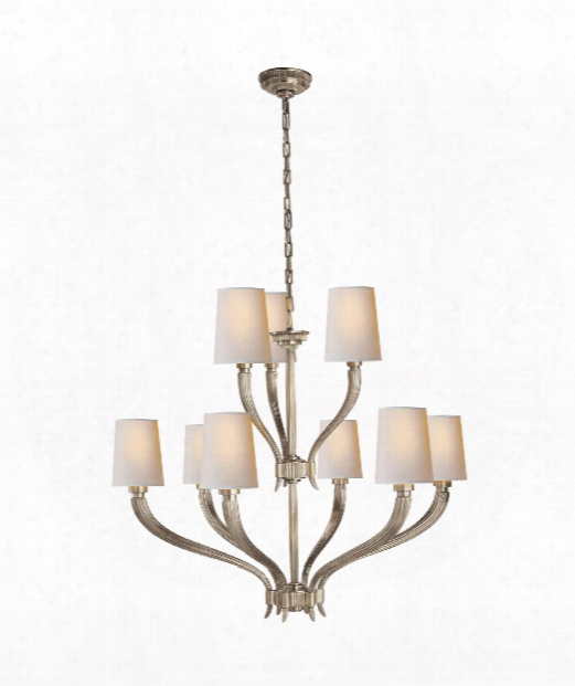 "Ruhlmann 35"" 9 Light Chandelier In Antique Nickel"