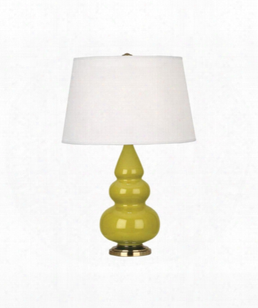 "Small Triple Gourd 5"" 1 Light Table Lamp In Antique Brass-citron"