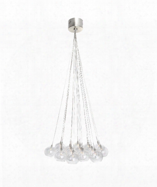 "Starburst 20"" 19 Light Multi Pendant Light In Satin Nickel"