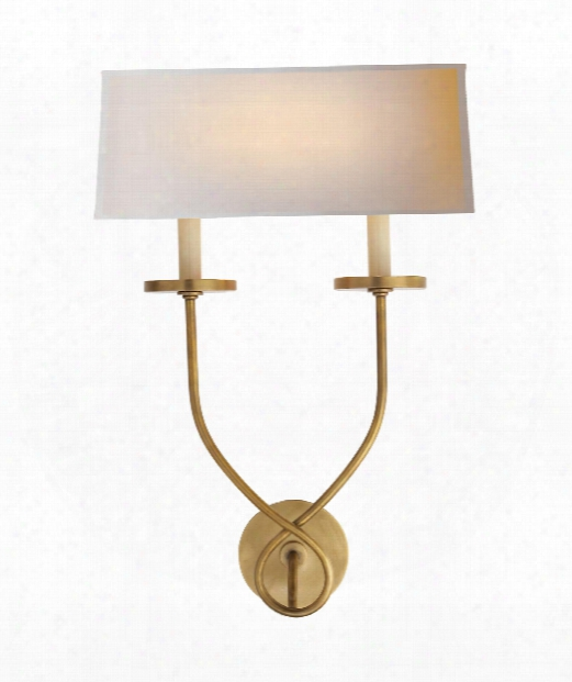 """Symmetric Twist 14"""" 2 Light Wall Sconce In Antique-burnished Brass"""
