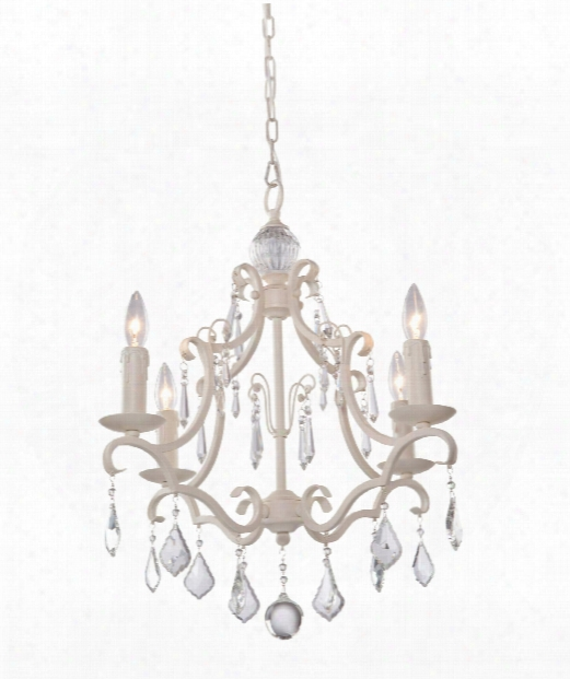 "Vintage 17"" 4 Light Mini Chandelier In Antique White"