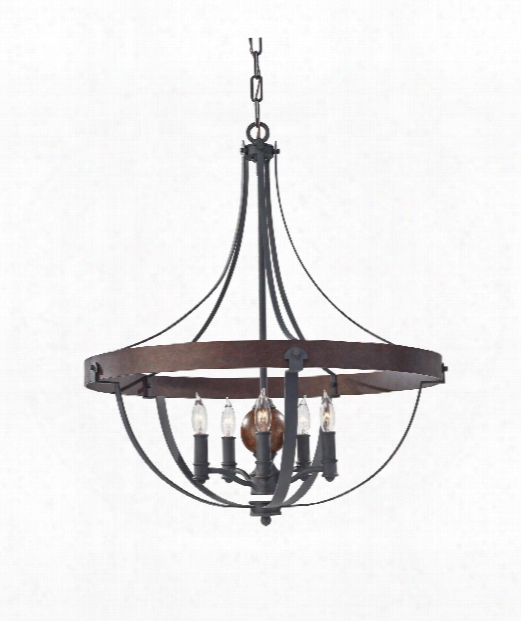 "Alston 24"" 5 Light Chandelier In Antique Forged Iron-charcoal Brick-acorn"