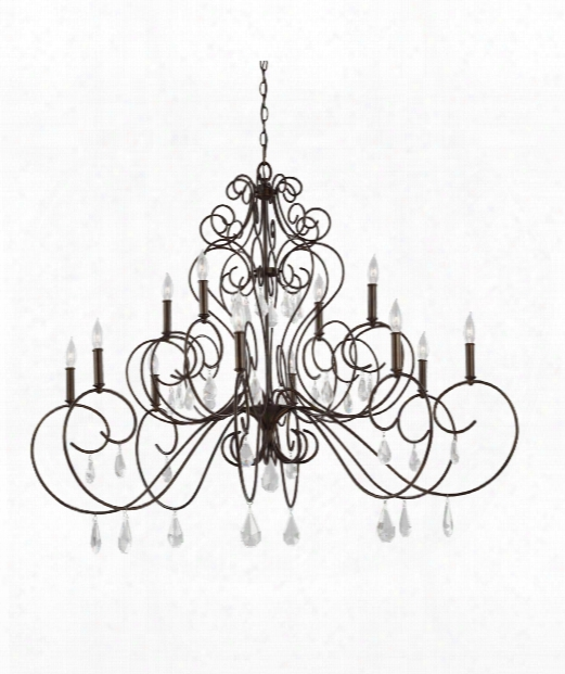 "Angelette 50"" 12 Light Chandelier In Bonnieaux Bronze"