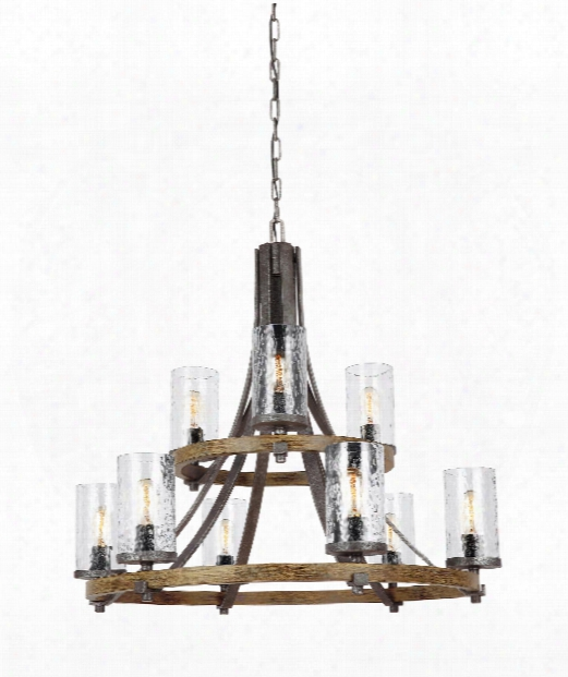Angelo 33&qiot; 9 Light Chandelier In Distressed Weathered Oak - Slated Grey Metal