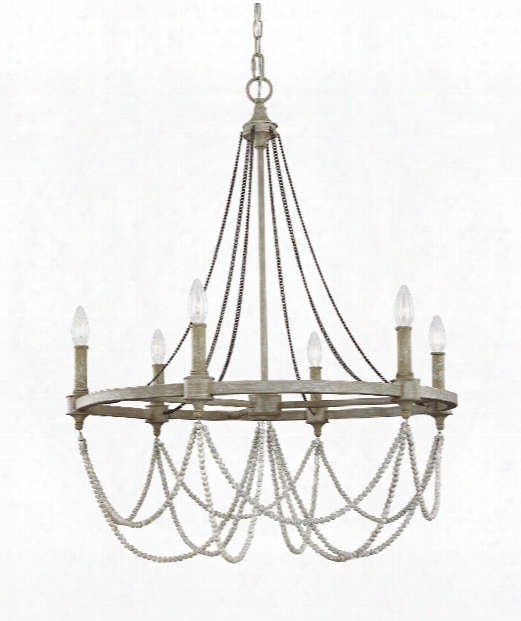 """Beverly 28"""" 6 Light Chandelier In French Washed Oak - Distressed White Wood"""