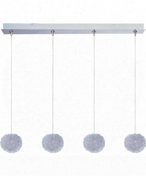 "Clipp 35"" 4 Light Multi Pendant Light In Brushed Aluminum"