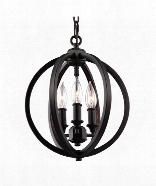 "Corinne 11"" 3 Light Mini Chandelier In Oil Rubbed Bronze"