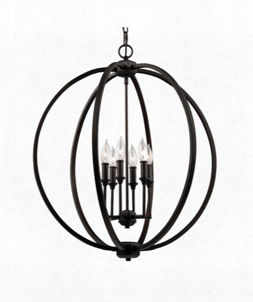 "Corinne 25"" 6 Light Mini Chandelie In Oil Rubbed Bronze"