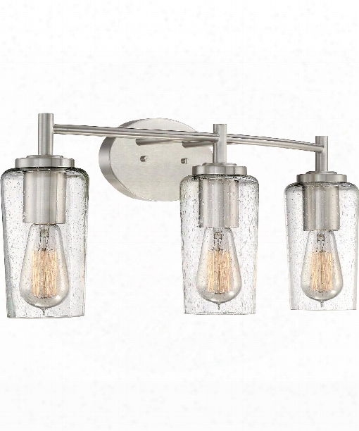 "Edison 23"" 3 Light Bath Vanity Light In Brushed Nickel"