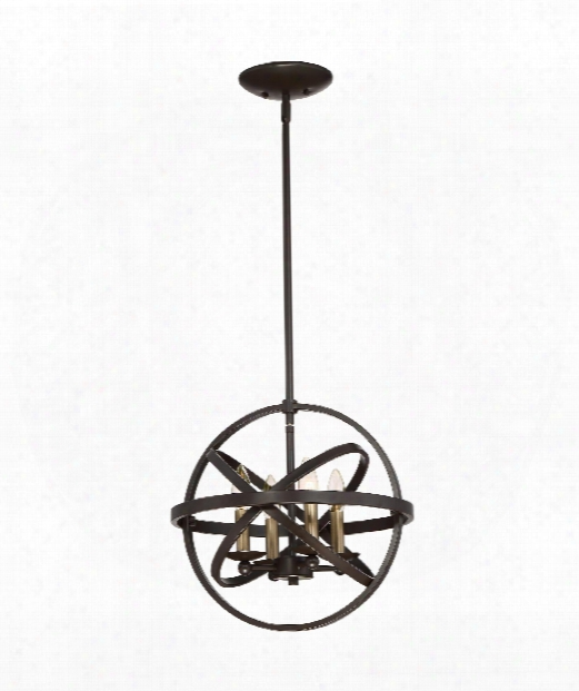 "Eons 15"" 4 Light Large Pendant In Brown"