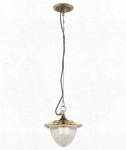 "Fly Boy 13"" 1 Light Mini Pendant In Antique Silver With Vintage Aluminum And Aged Brass"