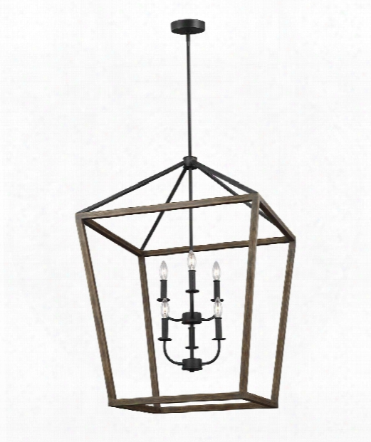 """Gannet 26"""" 6 Light Large Pendant In Weathered Oak Wood - Antique Forged Iron"""