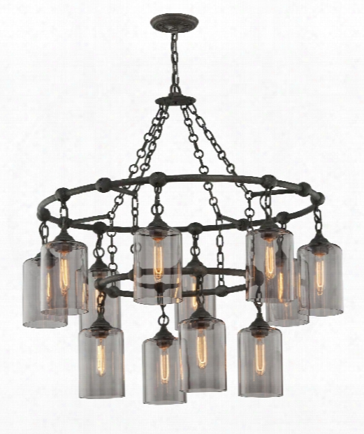 "Gotham 38"" 12 Light Chandelier In Aged Silver"