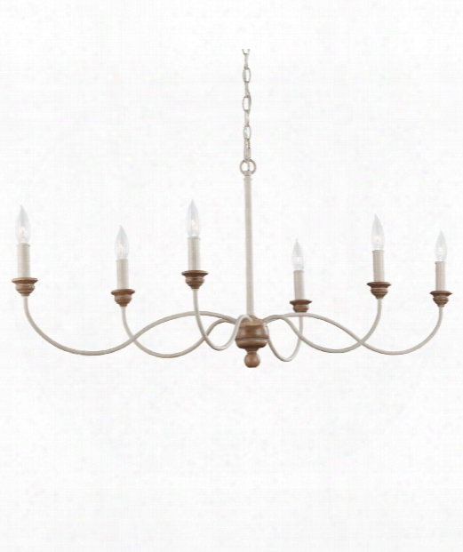 "Hartsville 43"" 6 Light Island Light In Chalk Washed-beachwood"