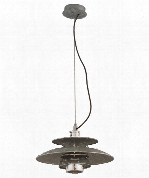 "Idlewild 18"" Led 1 Light Large Pendant In Aviation Gray With Vintage Aluminum"