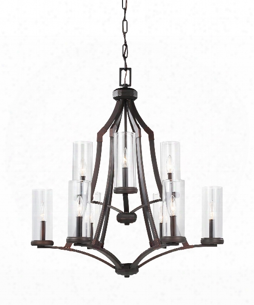 "Jacksboro 29"" 9 Light Chandelier In Dark Antique Copper - Antique Copper"