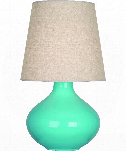 "June 8"" 1 Light Table Lamp In Polished Nickel-egg Blue"