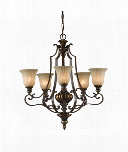 "Kelham Hall 27"" 5 Light Chandelier In Firenze Gold-british Bronze"