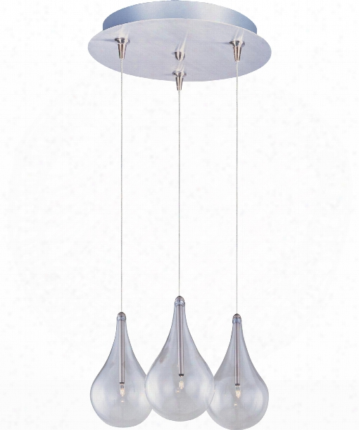 "Larmes 12"" 3 Light Multi Pendant Light In Satin Nickel"