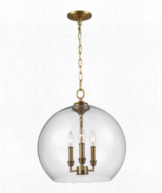 "Lawler 16"" 3 Light Large Pendant In Burnished Brass"