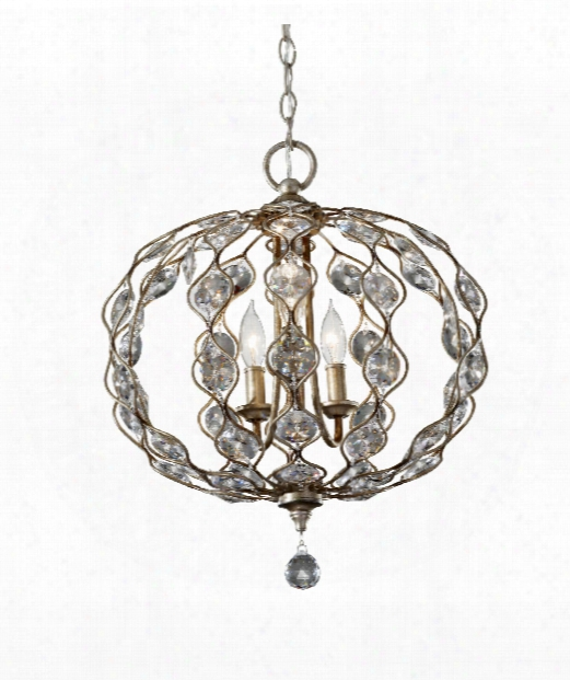 "Leila 19"" 3 Light Large Pendant In Burnished Silver"