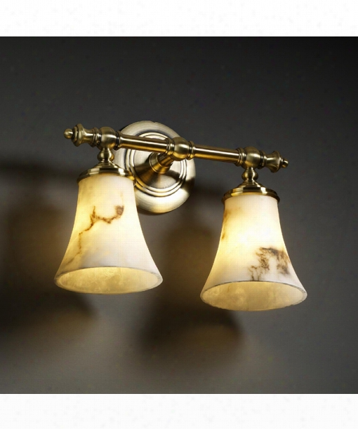 """Lumenaria Tradition 14"""" 2 Light Wall Sconce In Antique Brass"""