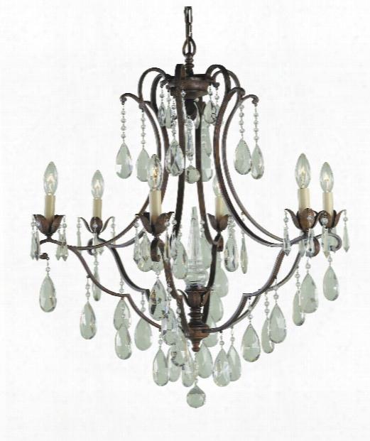 "Maison De Ville 28"" 6 Light Chandelier In Briti Sh Bronze"