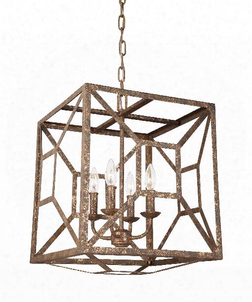 "Marquelle 17"" 4 Light Large Pendant In Distressed Goldleaf"