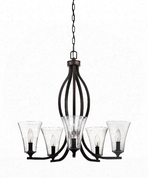 "Marteau 25"" 5 Light Chandelier In Oil Rubbed Bronze"