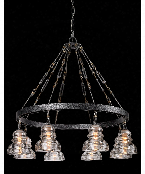 "Menlo Park 33"" 8 Light Chandelier In Old Silver"