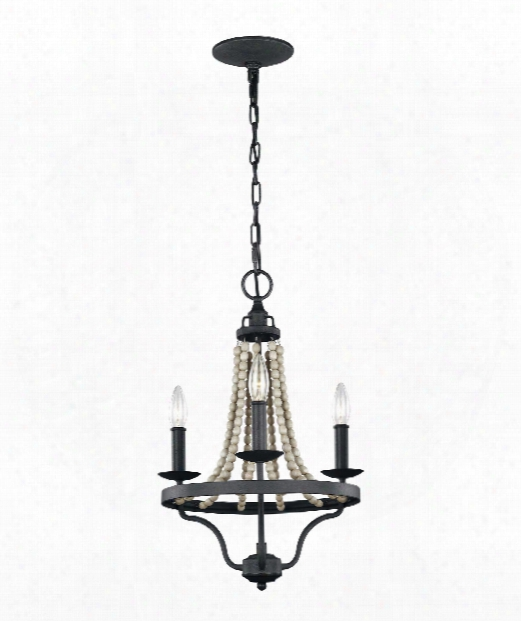 "Nori 15"" 3 Light Mini Chandelier In Dark Weathered Zinc - Driftwood Grey"