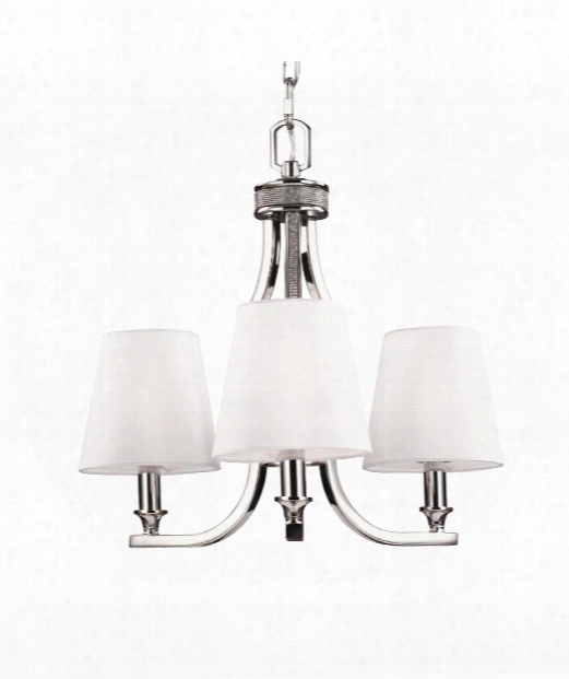 """Pave 18"""" 3 Light Mini Chandelier In Polished Nickel"""