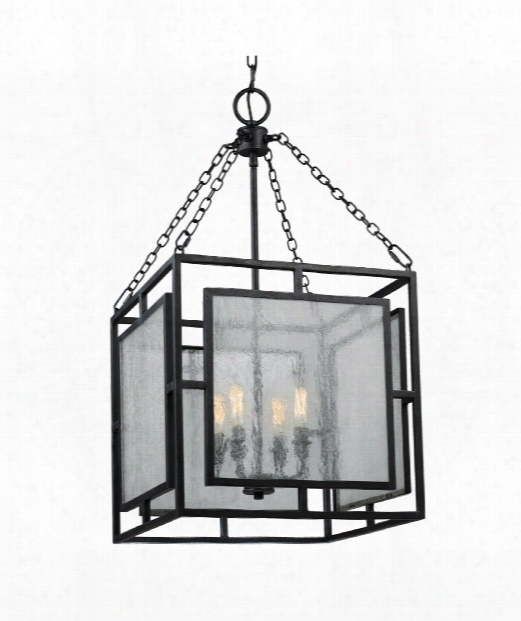 "Prairielands 16"" 4 Light Foyer Pendant In Dark Weathered Zinc"