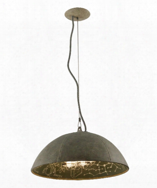 "Relativity 27"" 4 Light Large Pendant In Salvage Zinc"