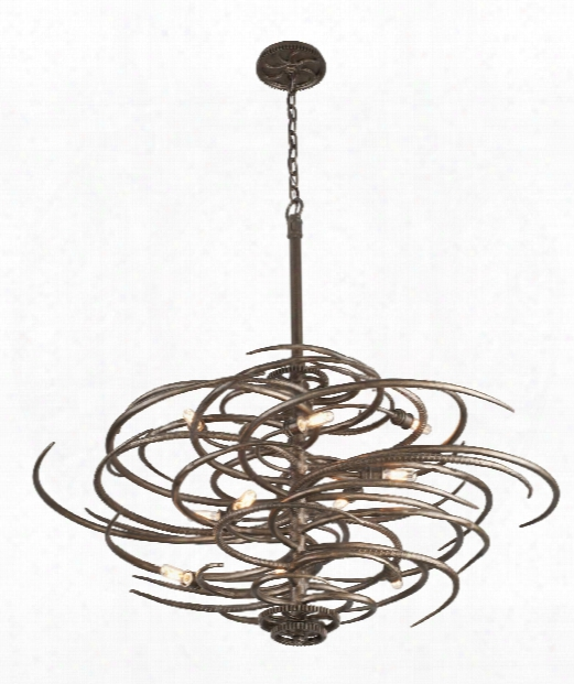 "Revolution 44"" 10 Light Large Pendant In Revolution Bronze"
