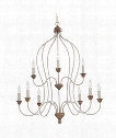 "Hartsville 31"" 9 Light Chandelier in Chalk Washed-Beachwood"