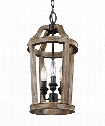 "Lorenz 9"" 3 Light Mini Pendant in Weathered Oak Wood"