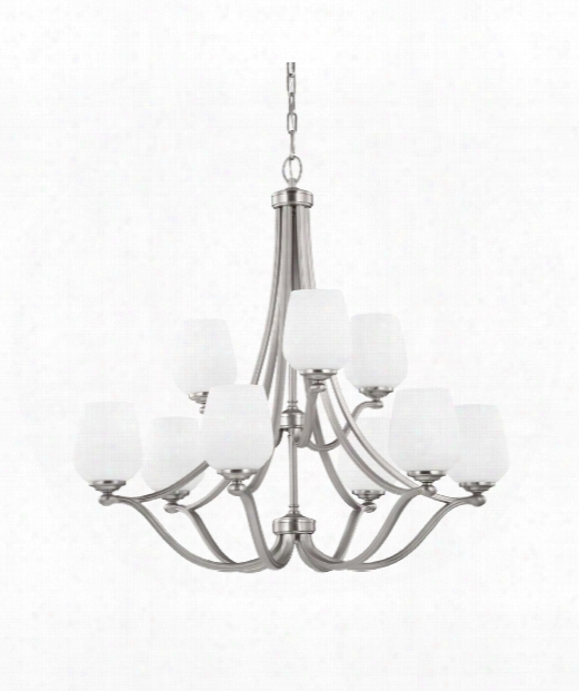 "Vintner 32"" 9 Light Chandelier In Satin Nickel"